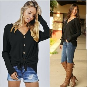 NEW Black Waffle Knit Button Down Top